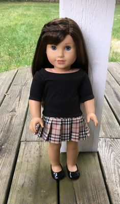 Black knit shirt and plaid pleated skirt by MySewYouCreations on Etsy. Made following the T-Shirt Variations and the Pleated Skirt patterns, available here http://www.pixiefaire.com/products/t-shirt-variations-18-doll-clothes. http://www.pixiefaire.com/products/pleated-skirt-18-doll-clothes. #pixiefaire #tshirtvariations #pleatedskirt
