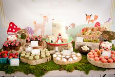 Lovely dessert table at a Woodland girl birthday party!  See more party ideas at CatchMyParty.com!