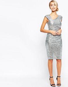 City Goddess | Платье миди с пайетками и асимметричной горловиной City Goddess