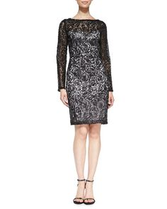 T8SKV Sue Wong Long-Sleeve Lace Overlay Cocktail Dress PARA LIAN