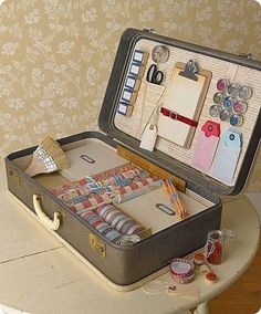 Turning an old suitcase into a kit (in this example, for a scrapbooker)