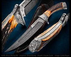"""maker: Bruce D. Bump MS website: brucebumpknives.com  Date: Mar, 3, 2017 Name: Major Maddalena, USAF Commemorative Fighter Blade: 1084 & 15N20 fine mosaic damascus. Handle: Sambar stag scales, amber dyed. Guard/Pommel: Single guard w/ bolsters, framed tang, 416 SS.   Blade length: 8 1/4"""" Overall length: 13 1/4"""" Sheath: Custom tooled leather w/ elephant chevrons.  Rear carry sheath by Claude Scott. Engraving: Relief engraving & bullion by Brian D. Bump, Keizer, OR.   Other: Commissioned for…"""