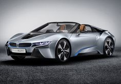 """BMW debuted its plug-in hybrid convertible sports car, the i8, in North America for the first time. The i8 Spyder Concept is a two-seat roadster version of the fixed-roof i8. A production version is likely within the next few years. It has the same 354-hp gas/electric plug-in power system as the fixed-roof i8 seen last year in """"Mission: Impossible—Ghost Protocol."""""""