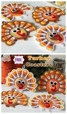 Crochet Turkey Coasters Kostenlose Häkelanleitungen - Knitting and Crochet Crochet Stitches Patterns, Crochet Designs, Holiday Crochet Patterns, Doily Patterns, Crochet Gifts, Free Crochet, Crochet Shawl, Crochet Pour Halloween, Thanksgiving Crochet