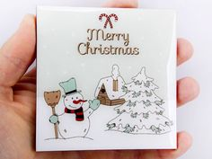 Snowman House Tree Snow Merry Christmas Drink Coaster Unique Gift Wood by Osarix