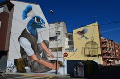 Sfhir wall mural in La Bañeza (Spain). Clever and very well-presented street art.