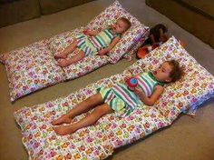 4 pillow cases sewn together. Insert pillows for portable, easy clean toddler bed!
