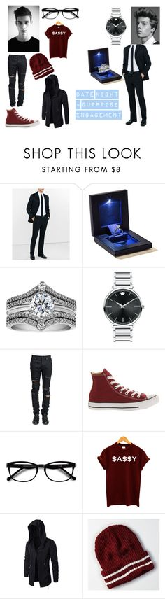 """""""Date + Engagement"""" by always-stressed-out on Polyvore featuring Express, Movado, Yves Saint Laurent, Converse, EyeBuyDirect.com, American Eagle Outfitters, men's fashion and menswear"""