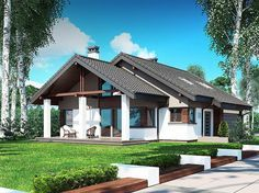 projekt Nel II 2G BSB1120 Style At Home, Residential Architecture, Architecture Design, Beautiful House Plans, Modern Bungalow House, Cabin House Plans, Unique House Design, Loft House, Roof Design