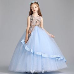 49d1e4016f9 Chic   Beautiful Sky Blue Flower Girl Dresses 2019 A-Line   Princess Scoop  Neck Sleeveless Embroidered Flower Pearl Sequins Floor-Length   Long Ruffle  ...