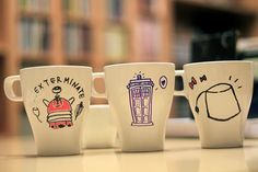 Doctor Who ideas for sharpie mug :( I wish this was available on Etsy or something because I'm not that great of a drawer