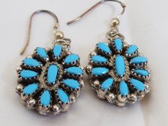 Zuni Sterling SIlver Double Sided Turquoise & Coral dangle earrings | eBay