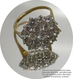Dazzeling - Vintage 18ct Yellow Gold 3.85 carat Diamond Cluster Dress Ring  UK Q