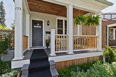 Porch columns with inlaid wood ceiling - oh my!