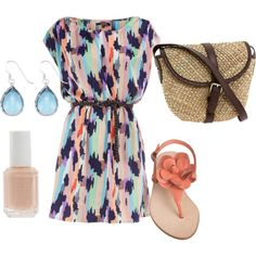 colorful dress and peach shoes