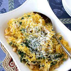 Spaghetti Squash Recipe with Spinach, Feta & Basil White Beans