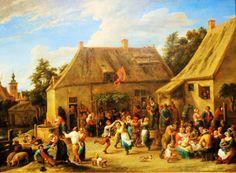 'Boerenkermis' door David Teniers uit 1665. De boeren op Teniers' kermistaferelen gedragen zich meestal onberispelijk. Ze eten en drinken, maken een dansje op de muziek van een doedelzak of staan gewoon wat te praten. De enige wanklank wordt veroorzaakt door de drank: de man links op de voorgrond kan niet meer op zijn benen staan. De kleuren zijn licht en vrolijk, met veel wit van proper gewassen hemden en schorten.