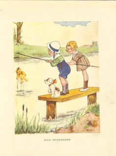 1920's Vintage Children's Print Boy Girl Puppy Standing On Wooden Dock To Fish Teddy Bear Out Of Pond Book Plate Book Illustration by printsandpastimes on Etsy