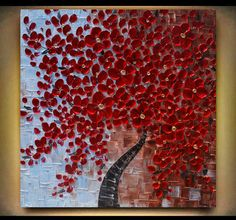 Original  Contemporary  Red  Blossom Tree Thick by angelacoxart, $325.00