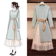 Match – Page 4 – Orchidmet Fashion Drawing Dresses, Fashion Illustration Dresses, Fashion Dresses, Hijab Fashion, Fashion Art, Muslim Fashion, Moda Outfits, Dress Sketches, Korean Fashion Trends