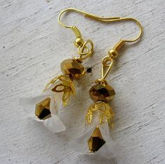 Gold Plated Faceted Glass Crystal Frosted White by MystiqueCat, $9.99