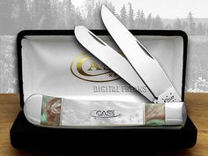 CASE XX Spring Rain and White Pearl Split Handle Trapper Pocket Knife Knives