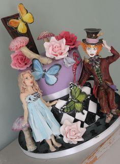 Alice in Wonderland tiered cake.  Tim Burton Alice.  Disney Cake.
