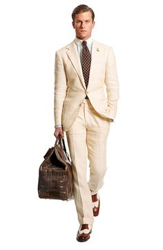 Off-White Suits are a good summer option. From WSJ. ralph lauren, summer suits, ball, fashion styles, men style, men fashion, cream suit, men wear, off white suits