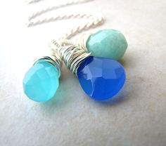 Chalcedony Aventurine Necklace Ocean Necklace by BellinaCreations, $48.00