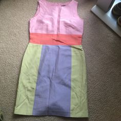 Color block green orange blue throwback dress Knee length.  Funky & fun. Perfect for a fun teacher or for someone for the summer time. Great for summer weddings or graduation parties! Small stain. Haven't tried washing it. Beautiful!! Francesca's Collections Dresses