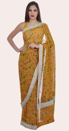 Mustard Floral French Flat Chiffon Kashmiri Tilla Embroidered Saree