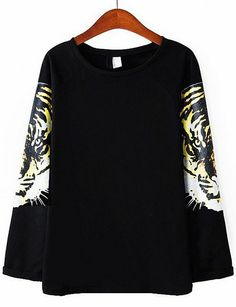 e3df532e5e Black Tiger Print Long Sleeve Loose Sweatshirt US$31.33 Black Tigers, Tiger  Print, Women's