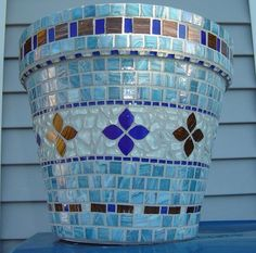x Materials Used: Stained Glass Tile, Aventurine Metallic Glass Tile, Crystal Murrini Glass Tile, Recycled Glass Tile, Soft Glass Puzzle Tile. Mosaic Planters, Mosaic Vase, Mosaic Flower Pots, Blue Mosaic, Mosaic Tiles, Mosaic Mirrors, Glass Tiles, Mosaic Crafts, Mosaic Projects