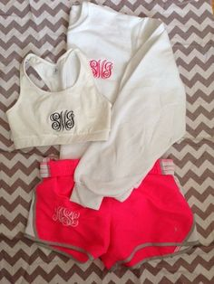 cute monogrammed work out outfit