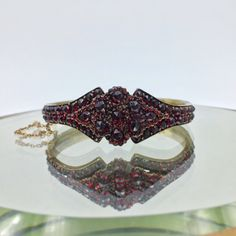 Antique Bohemian Garnet Bangle, Circa 1900 Victorian Era