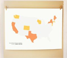 too cute! customize this map anyway you'd like ... where family lives, places you lived, states you visited. love it.