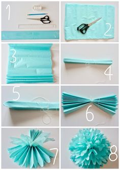 DIY (do it yourself) tissue paper flower, trendy decor, flower in paper . - Home improvement (do it yourself) tissue paper flower, trendy decor, flower in paper …… – Hea - Diy Party Decorations, Birthday Decorations, Baby Shower Decorations, Diy Decorations With Tissue Paper, Baby Decor, Mason Jar Crafts, Mason Jar Diy, Flower Crafts, Diy Flowers