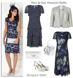 Jacques Vert navy and light grey occasionwear autumn winter colours for Mother of the Bride Mother of the Groom. Midnight blue lace cocktail dress, bias cut, layered fit and flare dresses edge to edge jacket matching shoes, clutch and fascinator.