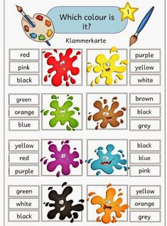 Ideenreise: Klammerkarten zu den englischen Farbwörtern English Primary School, English Grammar For Kids, English Phonics, English Worksheets For Kids, Kids English, English Classroom, English Vocabulary, Learn English, Color Worksheets For Preschool