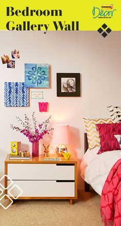 Design a bedroom gallery wall with the help of Command™ Décor Damage-Free Wall Tiles