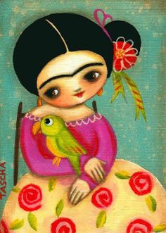 Art And Illustration, Frida And Diego, Frida Art, Art Pictures, Photos, Chicano Art, Doll Painting, Mexican Folk Art, Rock Art