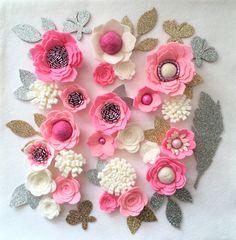Hand made pink/ivory felt 3d flowers/roses & glitter leaves. Felt flower crown, flower headband, flower garland, baby headband, felt posies by cutzbothways on Etsy