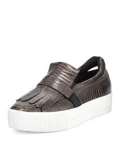S0EX5 Ash King Embossed Leather Kiltie Sneaker, Army/Bronze/Black