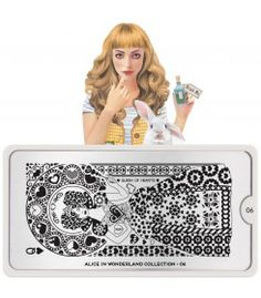 MoYou-London Stamping Nail Art Image Plate Alice Collection Meet Alice, Her imagination takes her stamping to another level! Come join her adventures in wonderland. Moyou Stamping, Nail Art Stamping Plates, Alice In Wonderland Nails, Adventures In Wonderland, Nail Art Designs Images, Pencil Sketch Drawing, London Nails, Image Plate, Plate Design