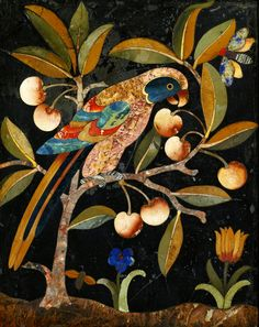 """Baroque pietra dura panel with a parrot on a cherry tree by Anonymous from Florence, 17th century, Private collection, possibly from the collection of John III Sobieski, according to inventory of the Wilanów Palace from 1696 in the King's collection was a """"Florentine stone image with a parrot on a cherry tree in black frame"""" (No 208.)"""