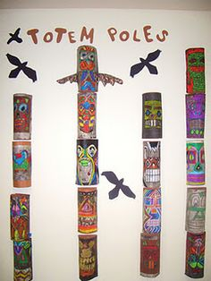 Pacific Northwest Totem Poles. Take paper and fold in thirds with the center section being wider.  The two side sections are left white to be put in the back.  The front section which is curved for display is clored with oil pastel then painted with ink.