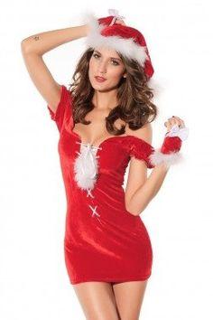 7c84e828d1 Red Velvet Lace Up Santa Chemise Christmas Dress Lingerie Mrs Claus 7136