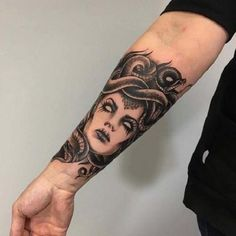 Evil Medusa Tattoo For Inner Arm. There was something wrong with the eyes of Medusa as well. Some stories suggest that her eyes were given special power that can turn onlooker into a stone. So this evil tattoo with white eyed Medusa is worth trying.