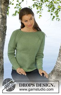 Green Wood / DROPS - Free knitting patterns by DROPS Design - Green Wood / DROPS – Knitted tailored sweater in DROPS BabyAlpaca Silk. The piece is worked in stocking stitch with raglan and cable pattern. Sizes S – XXXL. Lace Knitting Patterns, Knitting Stitches, Free Knitting, Finger Knitting, Scarf Patterns, Knitting Tutorials, Drops Design, Drops Baby Alpaca Silk, Laine Drops