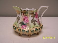 R.S. Prussia Ballfoot Creamer with Pink Roses